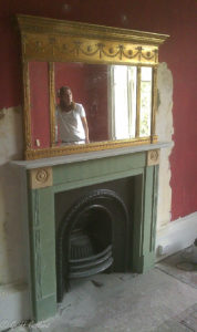 Gilt mirror repair plus fireplace surround