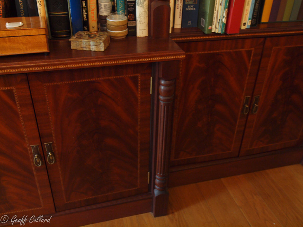 Mahogany fluted columns and curl veneer panels with inlay and cross banding