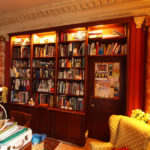 mahogany bookcase with turned fluted columns