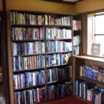 oak bookcase with waney edged shelves