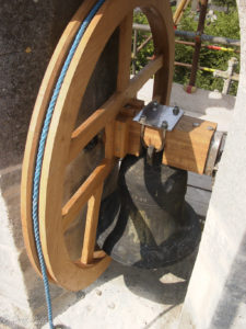 New oak Bell Wheel and Yoke in place