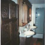 dark bathroom units in oak