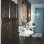 dark bathroom units in oak