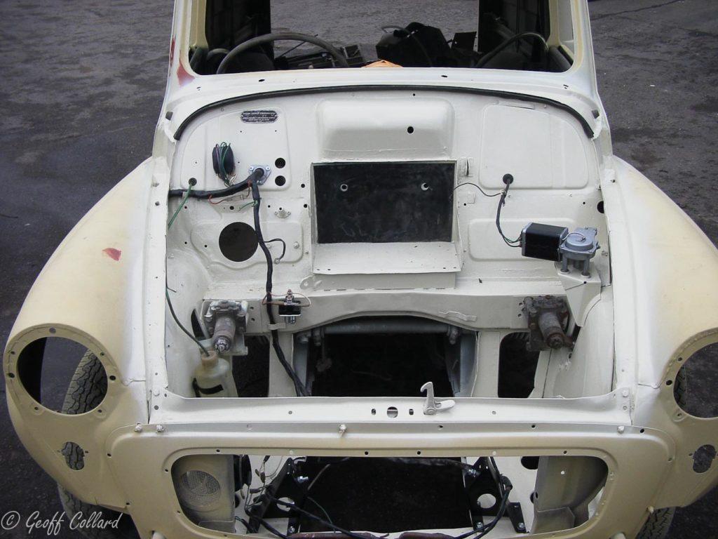 Engine bay sprayed ready to receive the engine